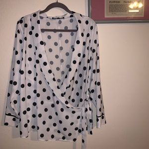 ELOQUII Polka dot Wrap Top!